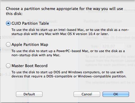 guid partition map and mac os extended journaled